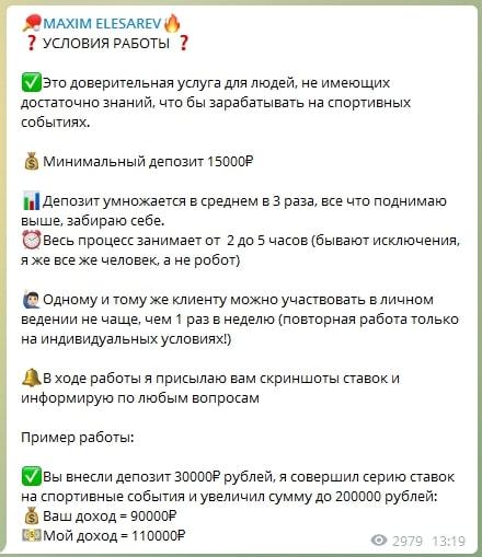 Стоимость услуг канала Максима Елизарьева