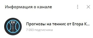 Прогнозы на теннис от Егора Калуги в Телеграмм