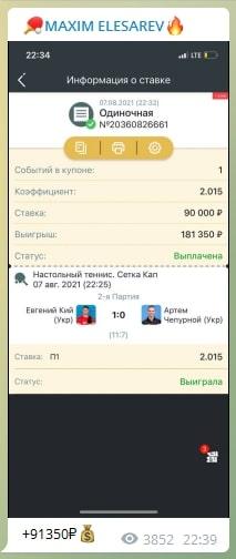 Ставки на спорт на канале Максима Елизарьева